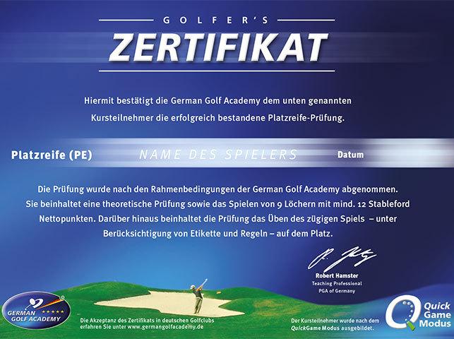 Platzreife Zertifikat in blau